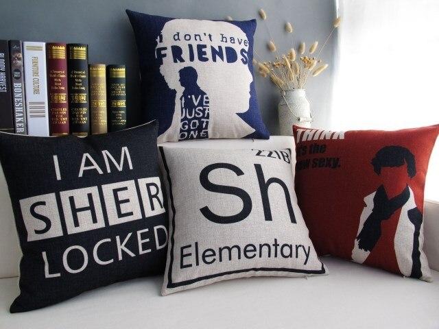 Sherlock Holmes Detective Throw Pillow Letter Red cushion cover home decor Linen cotton Decorative pillow case