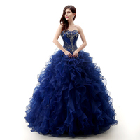 Backlackgirl Navy Blue Quinceanera Dresses 2018 Ball Gowns Sweetheart Off Shoulder Beaded Floor Length Special Occasion Dresses