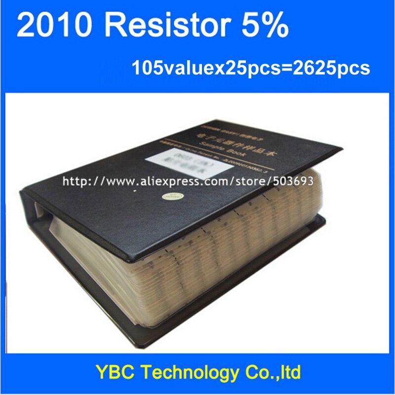 Бесплатная доставка 2010 SMD резистор книга образца 5% Допуск 105valuesx25pcs = 2625 шт. Резистор Комплект 0R ~ 10 м