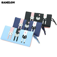 New Design Famous Brand Three Cat Cartoon Wallet Long Wallet Pu Leather Purse Card Holders Photo