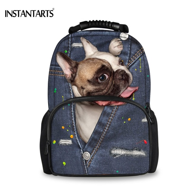 1d15afb618eb INSTANTARTS Cute Animal Backpacks for College Students Women Casual Travel Shoulder  Bags 3D Denim Dog Printing Laptop Rucksacks