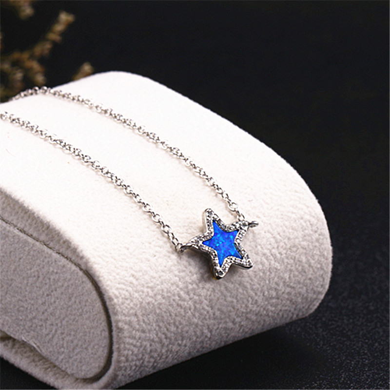 Astrolog Stars Pentagra natural Blue White opals Simple bracelets 2018 bangles for women fashion jewelry valentine's day gift
