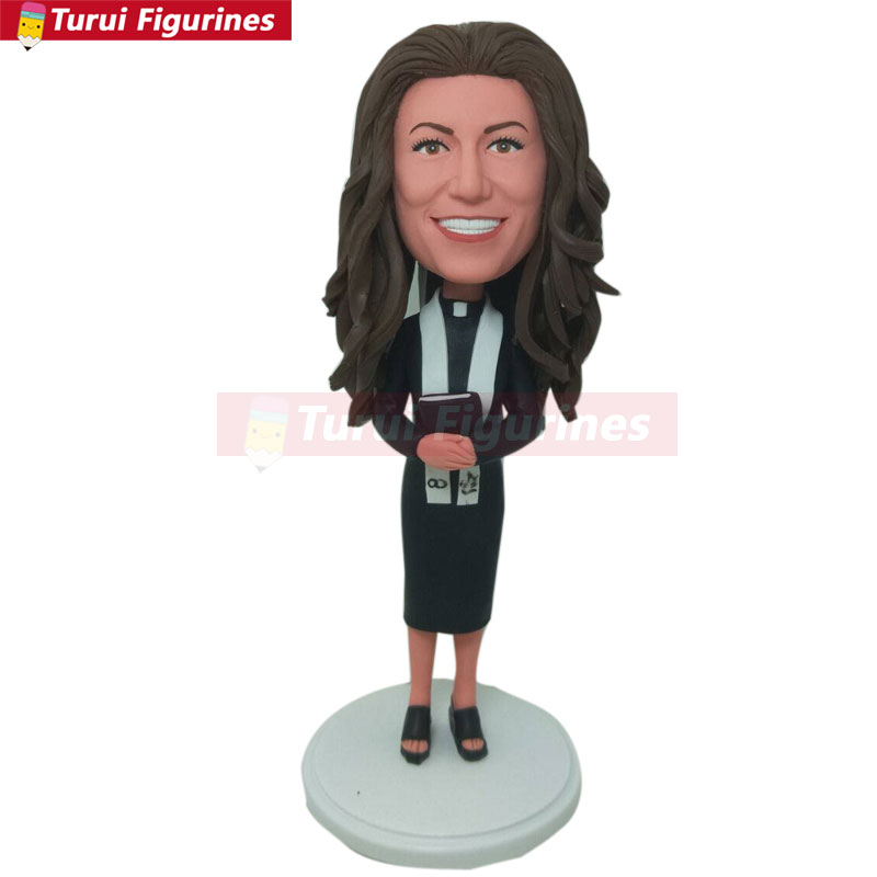Female Priest Pastor Minister Reverend Rev Wedding Officiant Personalized Gift Custom Bobble