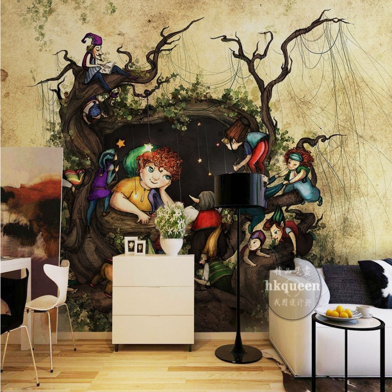 Free Shipping Scandinavian retro tree wall background bedroom lobby office decoration mural 3D living room wallpaper  free shipping 3d wall breaking basketball background wall bedroom living room studio mural home decoration wallpaper