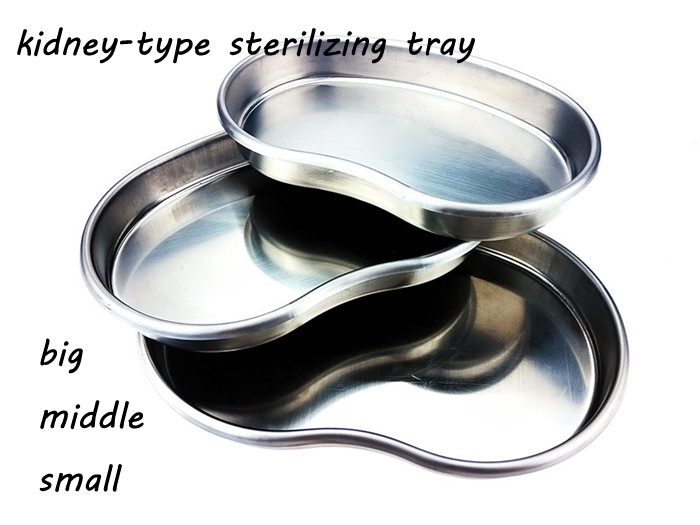 Medical 304 stainless steel kidney type tray sterilizing use dish surgical/plastic dish L/M/S size a set 1pc 1pc stainless steel kidney shaped curved tray medical dental surgical use