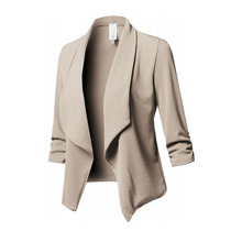 Women Jacket Coat Blend Pleated Long-Sleeve Small Plus-Size Solid Wild Slim No Casual