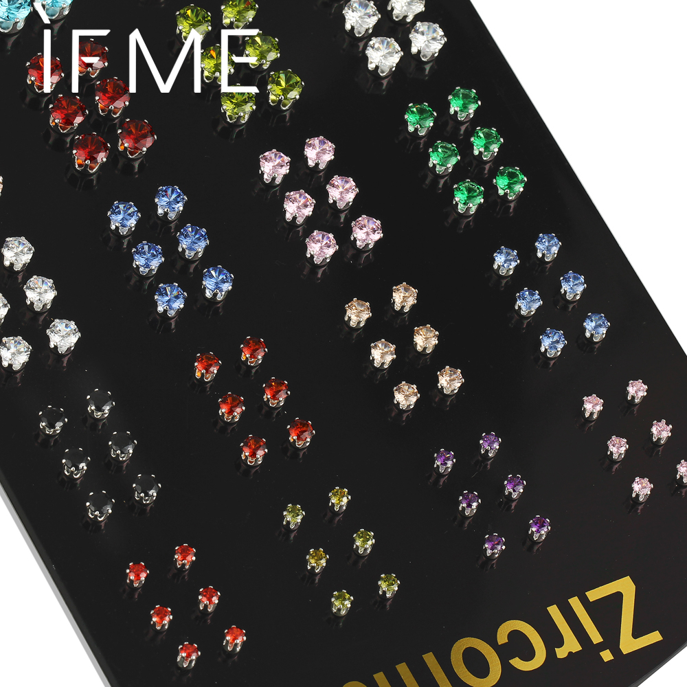 IF ME Punk Stud <font><b>Earring</b></font> Set <font><b>for</b></font> Women <font><b>Men</b></font> <font><b>Unisex</b></font> Silver Color Geometric Round CZ Cubic Zirconia Crystal Cute 5 Sizes 10 Colors image