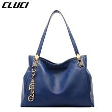 CLUCI Damen Handtasche Aus Echtem Leder Schwarz/Blau Hohe Qualität frauen Schultertaschen Französisch Stil Elegante Dame Designer-handtaschen