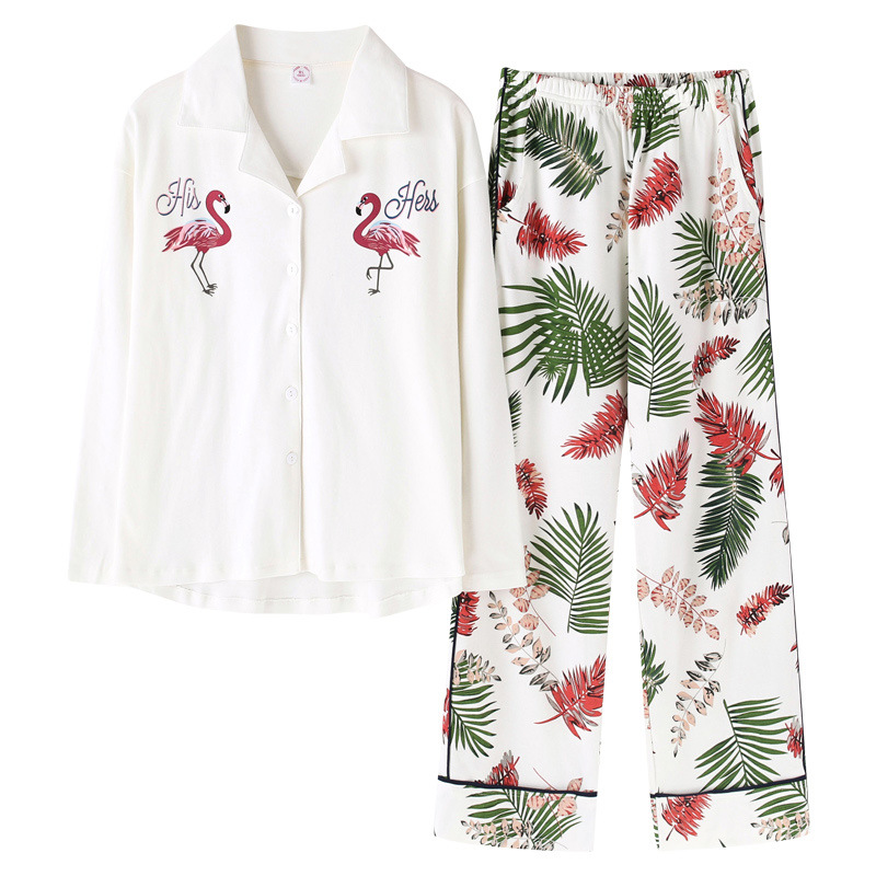 Cartoon Flamingo Spring   Pajama     Sets   Mujer   Pajamas     Set   Homewear Long Sleeve Elastic Waist Loose pyjamas Feminino pyjamas S89208