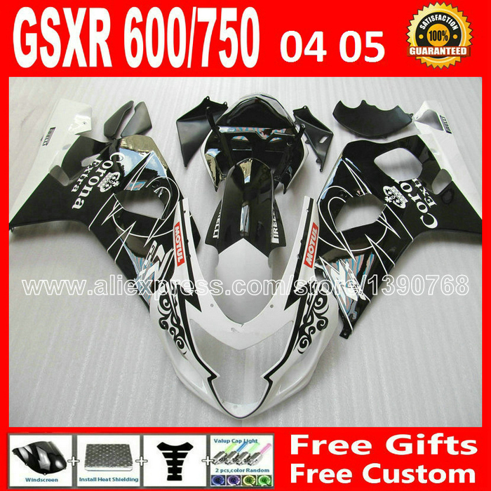 Motorcycle for 2004 2005 high grade black white SUZUKI GSXR 600 750 ABS fairing K4 RIZLA version gsxr600 04 05 GSX R750 CGB 903 for suzuki 2004 2005 white black blue gsxr 600 750 fairing kit k4 gsxr600 qtv 04 05 gsxr750 fairings kits motorcycle 894