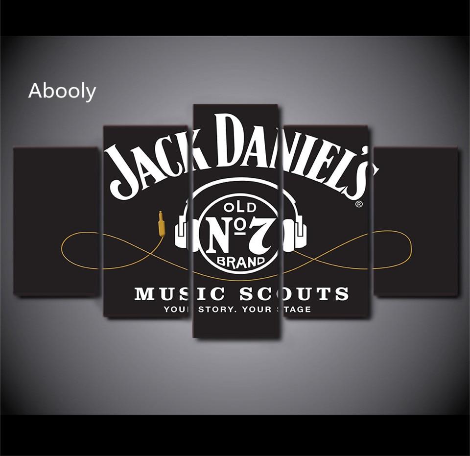 5 Stück Wandkunst Hd Gedruckt Jack Daniels Trinken Malerei rahmen ...
