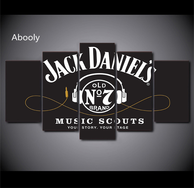 5 unidades Wall Art Hd impreso Jack Daniels bebida pintura auricular ...