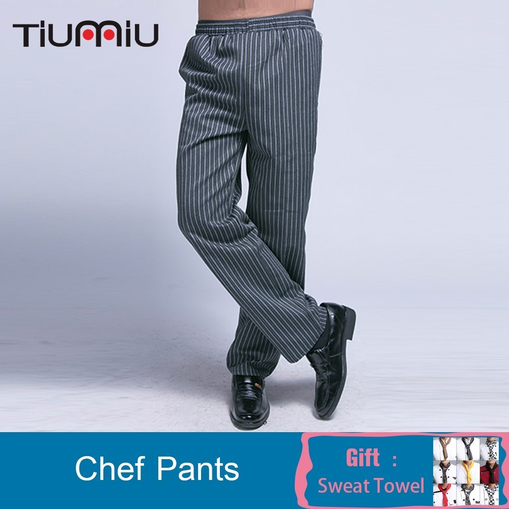 Chef Uniform Pants Men Striped Elastic Waist Long Trousers Cozinha Hotel Work Pants Casual Comfy Kitchen Wear Clothes M-3XL