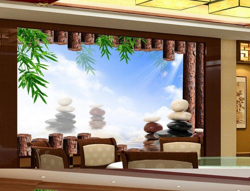 Wandbild 3d wallpaper Bambus holz stein Individuelle fototapeten 3D ...
