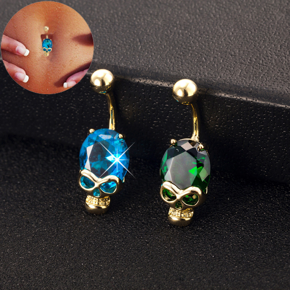 2017 Skull Green Blue Austrian crystal Gold Color Belly Button Rings Navel Piercing Body Jewelry Gift