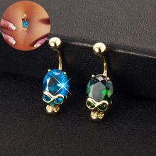 2017 Skull Green Blue Austrian crystal  Gold-Color Belly Button Rings Navel Piercing Body Jewelry Gift Navel Belly Rings