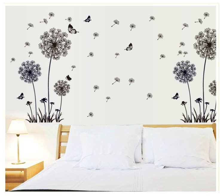 Butterfly Flying In Dandelion bedroom stickersPoastoral Style Wall Stickers Original Design 2017 PVC Decals ZY5125