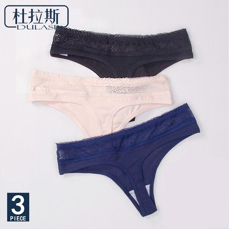 6ea44b96a3 Las mujeres Sexy Thong bragas de algodón encaje ropa interior Mujer ropa  interior bragas tangas G cuerdas señoras Bikini T espalda Mujer DULASI 3  unids set