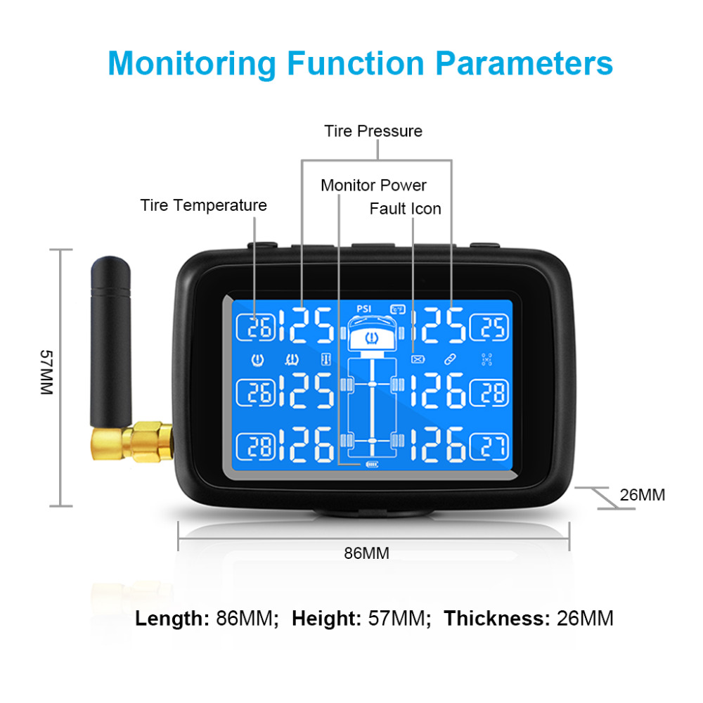 Image 4 - CAREUD U901 Auto Truck TPMS Car Wireless Tire Pressure Monitoring System with 6 External Sensors Replaceable Battery LCD Display-in Tire Pressure Alarm from Automobiles & Motorcycles