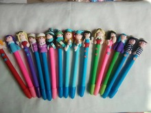 10pcs/lot Santa Claus cartoon soft pottery ballpoint pen cute creative kids prizes stationery  polymer clay gifts can logo