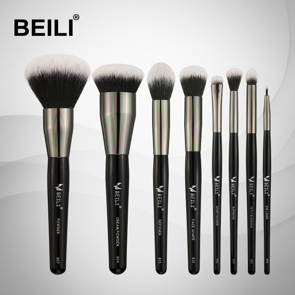 BEILI Professional Makeup brushes Set Synthetic Hair Blusher Powder Foundation Cream Eyeshade Blending Liner  8Pieces makeup brushes