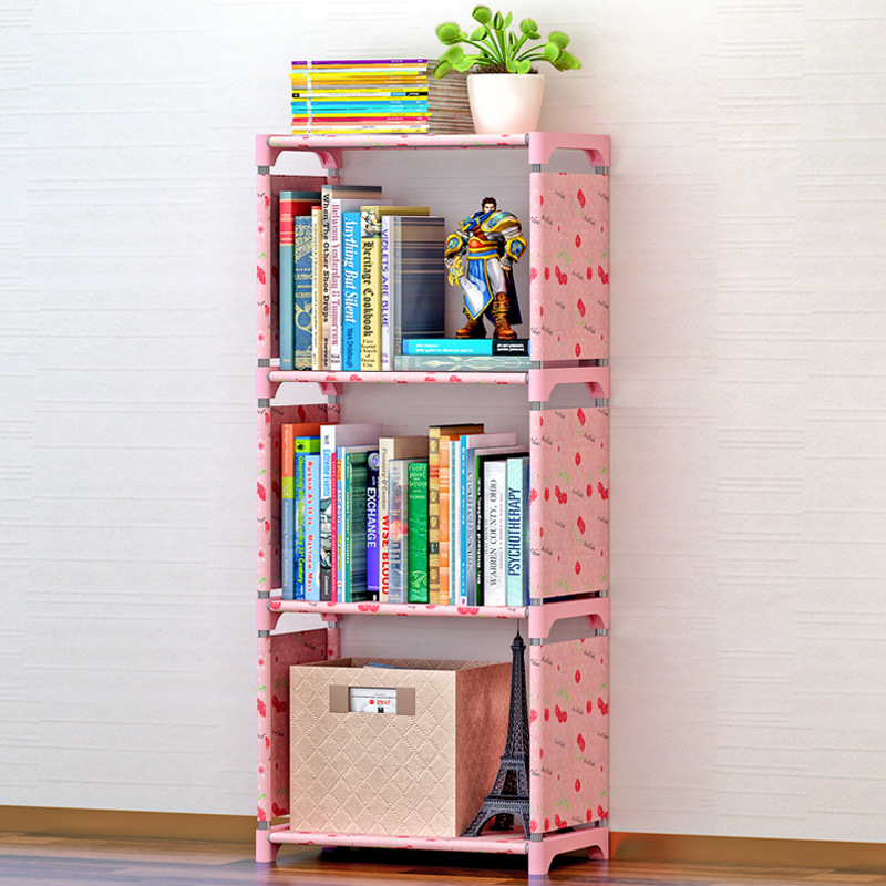 Simple 3-story bookcase stainless steel non-woven bookshelf can be freely assembled bedroom furniture dust storage rack 4 layers of simple dust proof moisture proof shoe rack thick non woven stainless steel shoe free assembly of home furniture