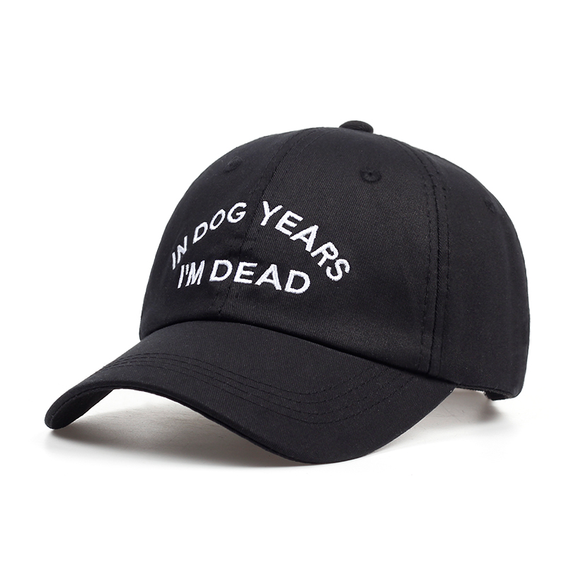 Hot Sales IN DOG YEARS I'M DEAD Dad Hat Embroidery 100% Cotton Baseball Cap Buzzwords Snapback Cap Unisex Fashion Adjustable brushed cotton twill ivy hat flat cap by decky brown