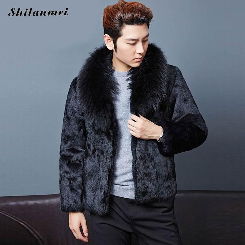 Fashion Mens Faux Fur Coats Faux Mink Coat Men Clothing Luxury Winter Leather Suede Jacket Men Biker Pelts Male Jackets Black