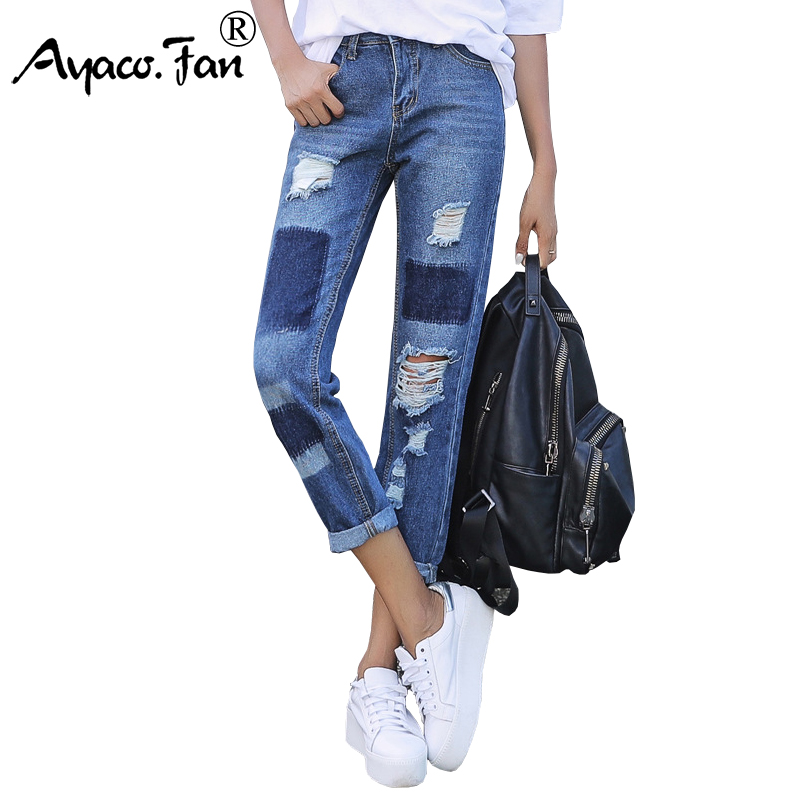 2017 New Women Ankle-Length Cuffs Blue Jeans Fashion Ripped Loose Female Slim Harem Pants Denim Ladies Trousers Boyfriends new summer vintage women ripped hole jeans high waist floral embroidery loose fashion ankle length women denim jeans harem pants
