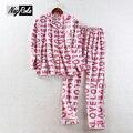 Новый весенняя мода 100% щеткой хлопка простой прекрасный пижамы наборы женщины повседневная дамы домашняя одежда pijamas mujer единорог пижамы