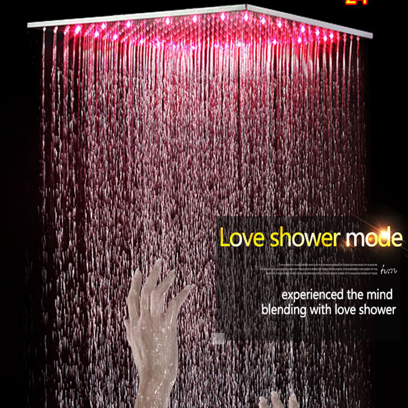 Bath Faucet Shower Quality LED Shower Kit Ceiling Big Rain Shower Panel Tap High Flow 2 Way Diverter Mixing Valve in Shower Faucets from Home Improvement