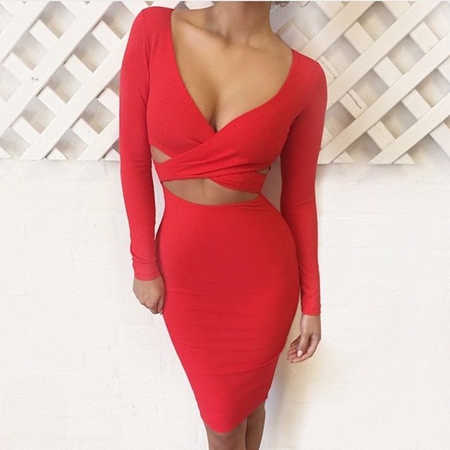 Nadafair Red Black White Long Sleeve Elastic Cotton Warm Party Dresses Vestidos Sexy Midi Pencil Club Bodycon Bandage Dress 1