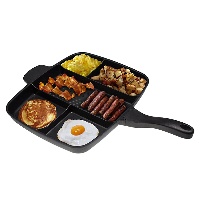 Wholesale Fryer Pan Non-Stick 5 in 1 Fry Pan Divided Grill Fry Oven Meal Skillet 15 Black