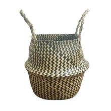 1PC Portabl Handmade Folding Useful Rattan Folding Basket Storage Basket for Beach Bag Toy Organizer Home Decoration(China)