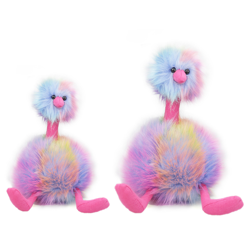 ZXZ 30 cm 45 cm Rainbow Ostrich Struthio Camelus Plush Toys Soft and Comfortable Animal Stuffed Toys Baby Adult Gift