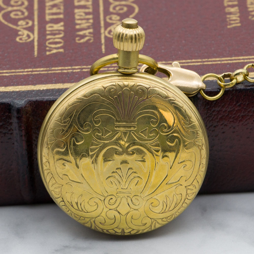 Fashion Luxury Golden Pocket Watch Skeleton Necklace Pendant Automatic Mechanical Hand Wind Mens Fob Watch PJX1320