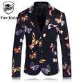 Fire Kirin Mens Floral Blazer 2017 Korean Suits For Men Stylish Flower Butterfly Pattern Blazers Vintage Floral Prom Suit Q93