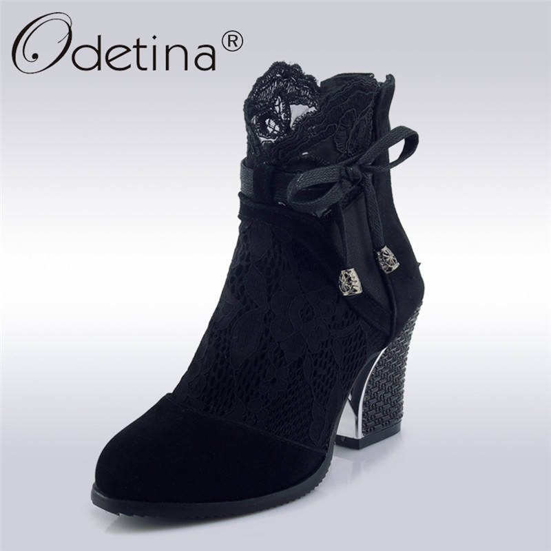 Odetina 2018 New Fashion Women Spring Square Heels Boots Lace Bow Tie High Heels Shoes Ladies Round Toe Sweet Summer Boots natives and aliens