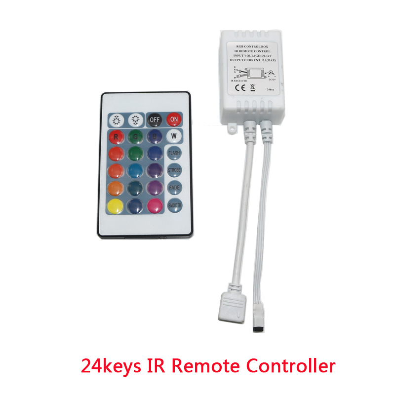 Led Strip 12V 24 Key IR Remote Wirlesss Controller For SMD2835 LED Strip LED RGB Control Box Dimmer RGB Controller Not Battery