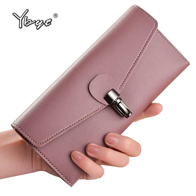 A YBYT márka 2018 új, divatos, hosszú női szabványos pénztárcája kiváló minőségű női kártyacsomag érme pénztárcák tervező táskák