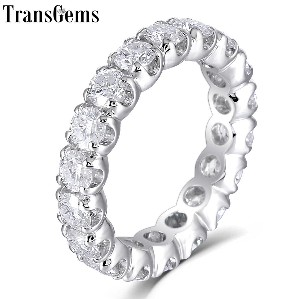 TransGems Solid 14K 585 White Gold 4mm F Color Moissanite Eternity Wedding Ring for Women Gift Gemstone Eternity Wedding Band