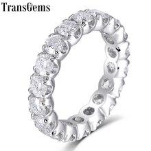 TransGems Solid 14K 585 White Gold 4mm F Color Moissanite Eternity Wedding Ring for Women Gift Gemstone Band
