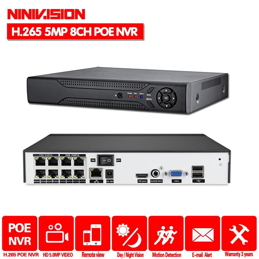 H.265 H.264 4/8CH 5MP 4MP POE NVR sécurité caméra IP Surveillance vidéo système de vidéosurveillance P2P ONVIF HDMI 2K 4K enregistreur vidéo réseau