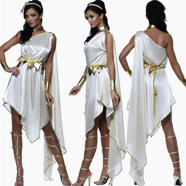 7b38fc9457268 US $16.06 15% OFF|White Sexy Greek Goddess Costumes Adult Women Halloween  Carnival Party Ancient Greek Goddess Loose Irregular Fancy Dress-in Movie &  ...