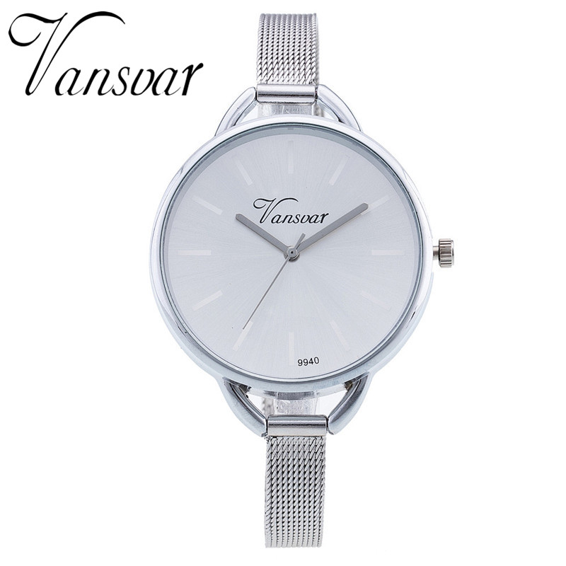 Vansvar Hot Fashion Colorful Dial Mesh Stainless Steel Silver Analog Quartz Women Wrist Watch Reloj Mujer Relogio Feminino 746 fashion women crystal silver stainless steel analog quartz wrist watch bracelet relogio reloj pulsera de cuero z510 5down