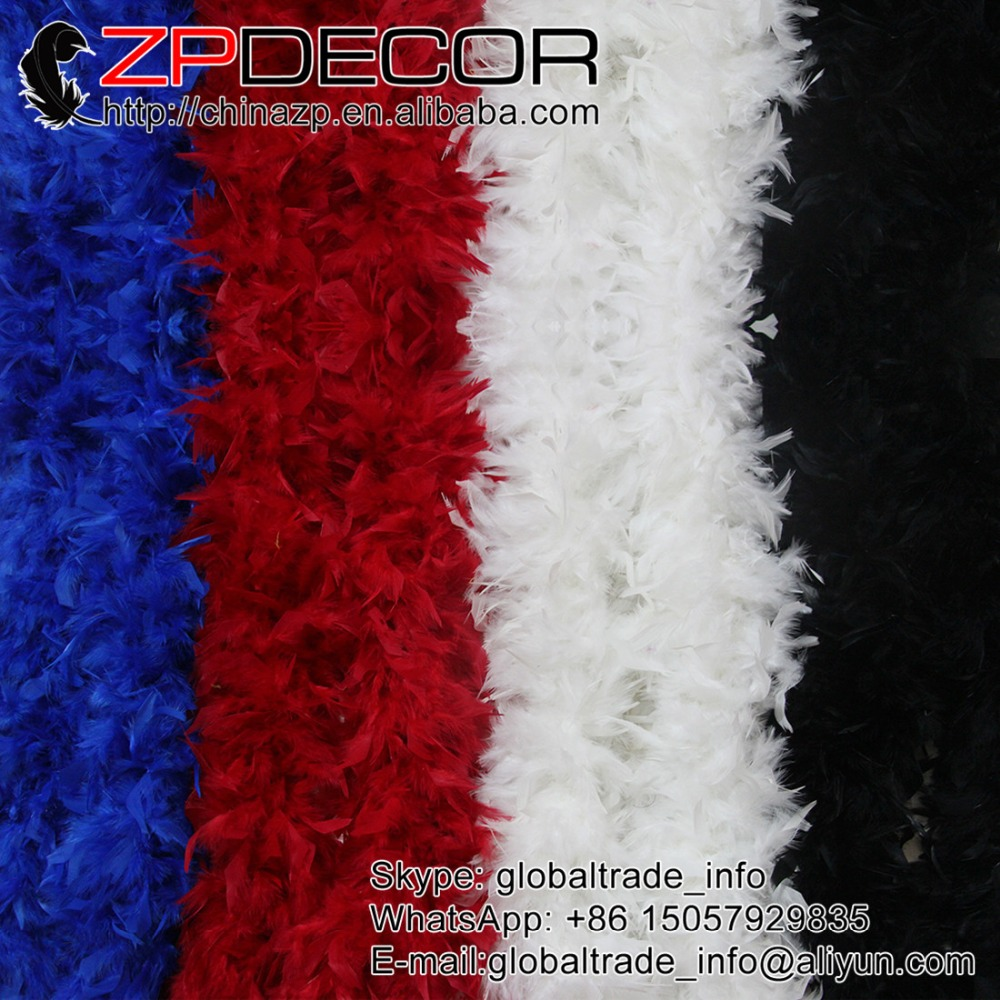 ZPDECOR 150g 2yards/lot In Stock Fluffy Premium Quality Chandelle Feather Boa Neckerchief Dyed Black for Wedding Decoration(China)