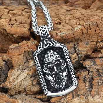 Nordic Odin Amulet Stainless Steel Talisman Pendant Necklace  Viking Necklace
