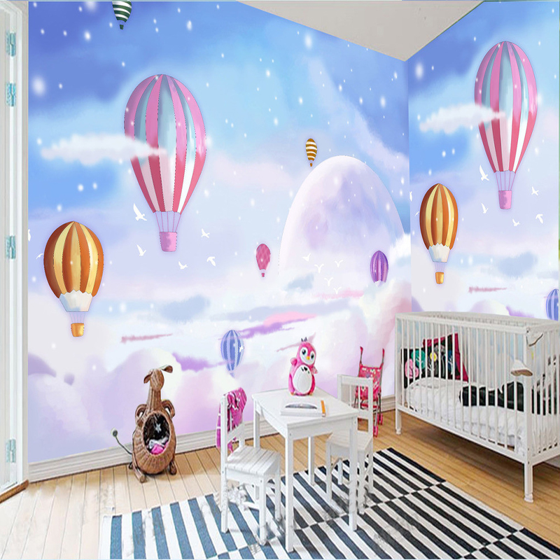 Lovely Girl Cartoon Wallpapers 3d Cartoon Kid S Room Landscape Decor Wallpaper Romantic