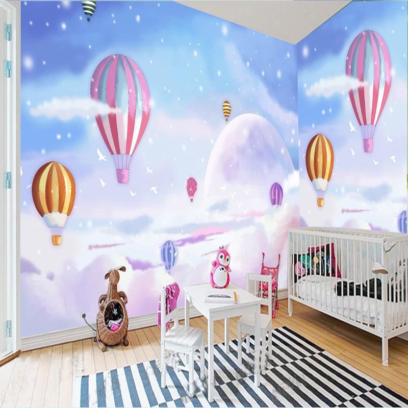 3d cartoon kid 39 s room landscape decor wallpaper romantic lovely hot air balloon 3d wall mural. Black Bedroom Furniture Sets. Home Design Ideas