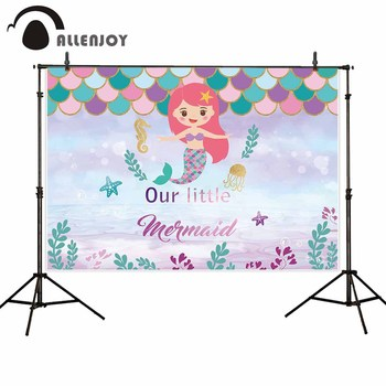 Allenjoy photography background Mermaid under the sea baby girl birthday party backdrops for photo photophone photocall fabric image